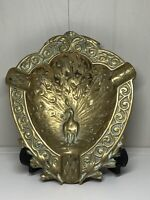 Antique Art Nouveau French Deposè Solid Brass Dish Tray With Peacock Detail