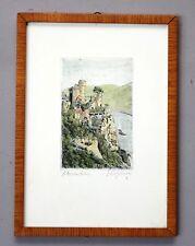 Burg Rheinstein Radierung/Kunstdruck unleserlich signiert # A-183