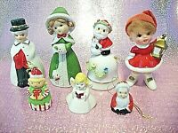 RARE VTG Japan Miniature Napco Lefton LOT 7 Christmas Angel Girl Bells Figurines
