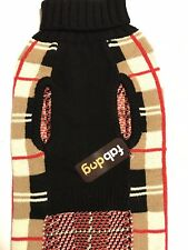 """Fab Dog Burberry Pattern Camel Brown Plaid Sweater - 18"""" Size"""
