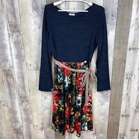 Egs by Eloges Women's Large Long Sleeve Dress Navy Blue Floral Print Tie Waist