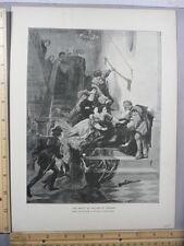 Rare Antique Original VTG 1888 Death Of William Of Orange Photogravure Art Print