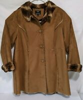 Women's Faux Fur & Faux Leather Coat, Size 2X, by Dennis Basso .Hardly Worn