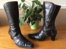 Ladies vintage Pikolinos dark brown leather pointed toe western boots UK 5 EU 38