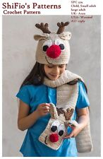 CROCHET PATTERN for REINDEER HAT & SCARF. CHILD- ADULT #379 NOT CLOTHES