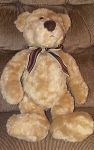 Gund bearsnickles tan teddy bear brown stripped bow #2464 12 inches tall