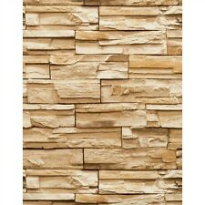WALLPAPER BY THE YARD Stone Wallpaper | Stack Brick Brown Heavy Duty Textured Wa