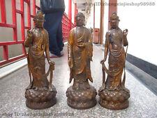 Tibet Buddhism Old Bronze Three Saints of the West Buddha Sakyamuni Kwan-yin Set