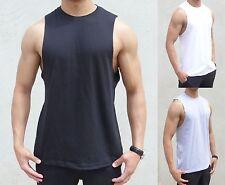 10 PACK PLAIN sleeveless Singlet RAW EDGE MUSCLE TANK TOP BODYBUILDER gym SPORT