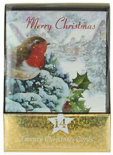 Pack of 14 Square Glitter Christmas Cards - Traditional Robin, Red Text & Holly