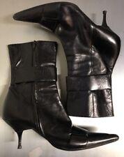 ALAIN TONDOWSKI Black Leather Booties Heels Point Toe Zip Women's 39.5