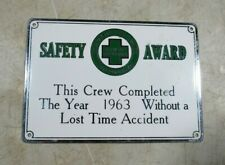 Vintage 1963/64 Indiana Bell Telephone Brass Enamel Safety Award Sign Accidents