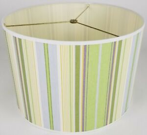 """NEW Drum Lamp Shade 15"""" Dia 10"""" H Verticle Green Blue Creme Stripes Fabric"""