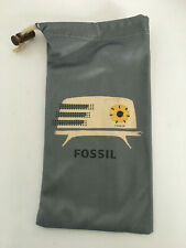 Fossil Sunglasses Eye-Glasses Dust Bag Pouch Drawstring Vintage Radio Gray