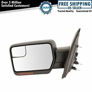 Mirror Power Heated LED Signal Textured Black Driver Side Left LH for 11-14 F150