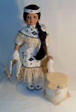 Heritage Signature Collection Native American Porcelain Doll on Stand with Drum