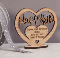 Personalised Wooden Freestanding Heart for 18th Birthday Gift with Message