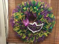 Handmade Mardi Gras  Mesh Wreath Door Decor