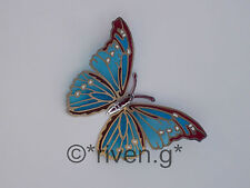 BUTTERFLY@FRIDGE MAGNET@Stained Glass@SILVER Plated@Loveable Insect@BLUE@BROWN