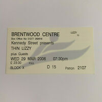 Thin Lizzy 29 March 2006 Brentwood Centre Concert Ticket Stub