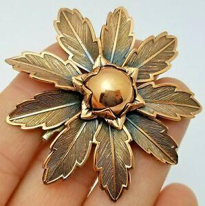 Vintage Costume Jewellery Signed COPPER BELL Large Flower Brooch