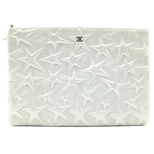CHANEL Clutch second bag star pattern leather Silver Used Women CC Coco