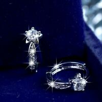 18k white gold gf made with SWAROVSKI crystal star stud huggie earrings SMALL
