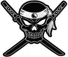 Skull Cross Swords 12 x 10 Ninja Ying Yan Pirate Biker Vest Back Patch LRG-0341