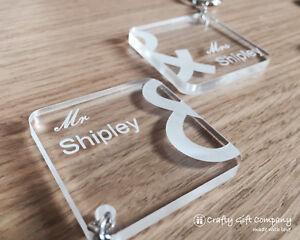 Personalised Mr & Mrs Wedding Engraved acrylic keyring set WEDDING gift present