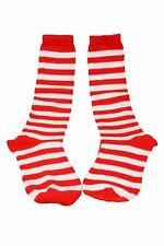 Clown Pirate Raggety Socks Red Striped Costume Elf Sox CLOSEOUT