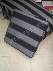 Frontgate Carlisle Outdoor Chair Sofa Ottoman Cushion Black Gray 23.5x23.5 NEW