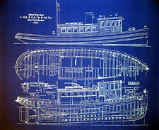 "Ships Plan Tug Boat New York Harbor 1933 Blueprint Drawing  20"" x  24"" (004)"