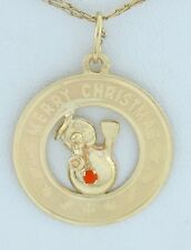 14K Gold 2mm Synthetic Carnelian Frosty Merry Christmas Disc Pendant Charm