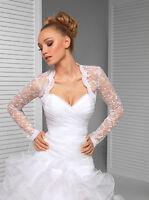 Women Wedding Ivory or White Bridal Lace Bolero Jacket with Long Sleeve B-96