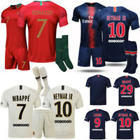 18/19 Home Away Football Kid 3-14Y Youth Kit Shirt Soccer Jersey Club Suit+Socks