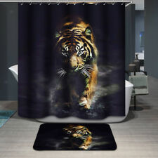 Stylish Tiger Design Polyester Bathroom Shower Curtain Waterproof With Hooks