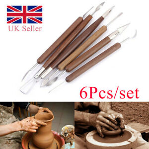 6pcs Clay Sculpting Set Wax Carving Pottery Tools Shapers Polymer Modeling Tool