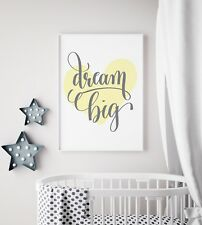 Dream Big Yellow Heart Print Nursery Kids Baby Unisex Room Wall Art Picture Deco