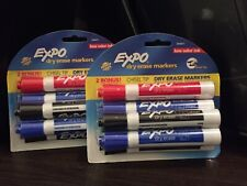 Expo Dry Erase Markers 6 Chisel Tip Black Blue Red Green Lot Of 2