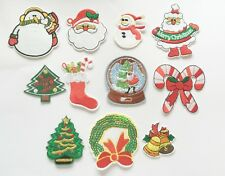 DIY Project 11 Pieces Iron On Sew On Embroidered Christmas Santa Bulks Patches