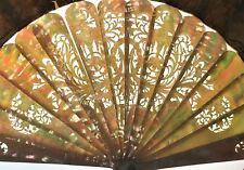 AB-613 FAN. PEARL CARVED. HAND PAINTED PAPER. FRANCE. XVIII-XIX