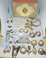 44 Piece Vintage Mod Estate Faux Pearl Costume Jewelry Lot Some Signed