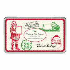 Cavallini & Co. Vintage Christmas Rubber Stamps, 6 Stamps and Black Ink Pad