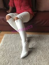 Amazing White Thigh High Heel Over Knee Boots UK 5 EU 38 US 7.5 Valentines