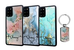 PERSONALISED Name Marble Silicone Case Samsung S20 FE S21 Plus Ultra + Keyring