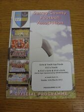 25/03/2012 Football Programme: Surrey County Youth And Girls Cup Finals - U13 Yo