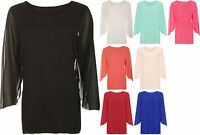 New Womens Plus Size Chiffon Sheer Lined Long Open Sleeve Ladies Party Top 14-28