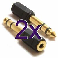 [2 pack] 3.5mm Mini Jack Socket to 6.3mm Jack Plug Adapter GOLD [000426]