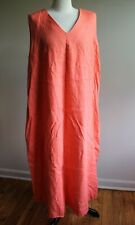 Philosophy 2X Orange 100% Linen V-Neck Sleeveless A-Line Maxi Dress