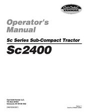 Cub Cadet Yanmar Sc Series Operator's Manual   Model Sc2400